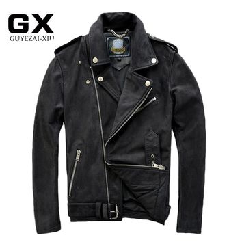 2017 New Mens Scrub Genuine Cow leather jacket Male cowhide zipper Motorcycle rider leather jacket Winter Coats