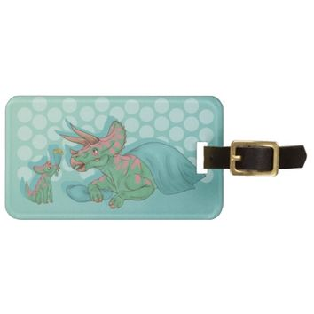 Triceratops Giving Flowers Luggage Tag