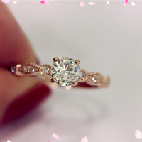 14K Ross Gold 5mm Round Moissanite Ring SI/H Diamond Engagement Ring Moissanite Ring Wedding   Ring