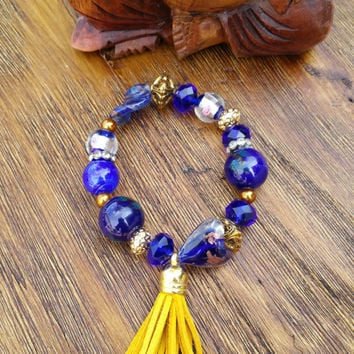 Tassel Collection- Yellow Leather Tassel/Blue and Gold Tone Beaded Hand Made Bracelet