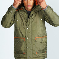 Parka Coat with PU Patches
