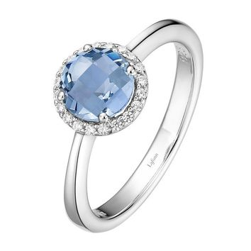 Lafonn Blue Topaz and Simulated Diamond Halo Birthstone Ring