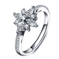 925 Sterling Silver Cubic Zircon Flower Wedding Ring