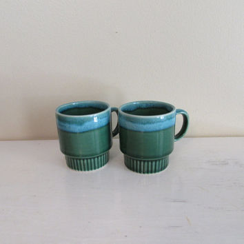 Vintage Green and Teal Drip Glaze Mugs | set of 2 mugs | 1970s retro coffee cups