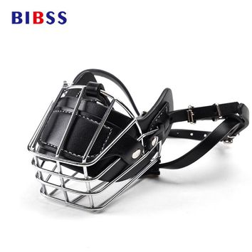 Black Large Dog Muzzle Metal Wire Basket Leather Anti-bite Masks Mouth Cover Bark Chew Muzzle Pet Breathable Safety Mask