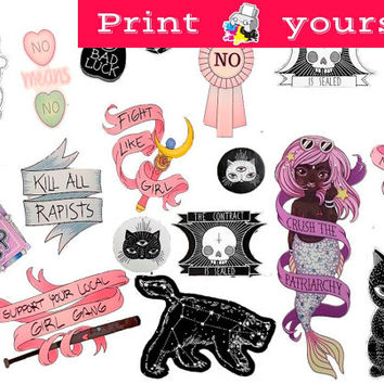 Set #250. Mockup printable Tumblr Stickers, Stickers, Set of stickers. Decals. Instant Download PDF and PNG Files
