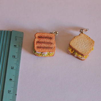 Sandwich charm, handmade with polymer clay, miniature food jewelry