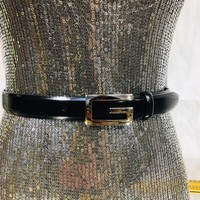 Authentic Women's Gucci Black Leather Waist Belt With Silver G-Gucci Buckle