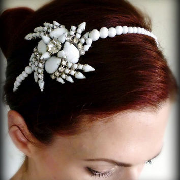 Bridal Headdress - Vintage White Rhinestone Art Deco Headband