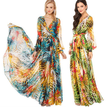 Summer Beach Sexy V-Neck Long Maxi Boho Dress for Women Floral Printed Chiffon Dresses Robe