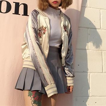 Multicolor Embroidery Long Sleeve Zip Baseball Clothes Jacket Coat Women Loose Show Thin Short Tops