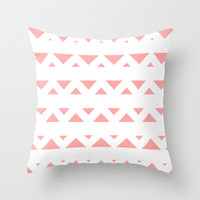 Coral Pink Tribal Triangles Throw Pillow by BeautifulHomes   Society6