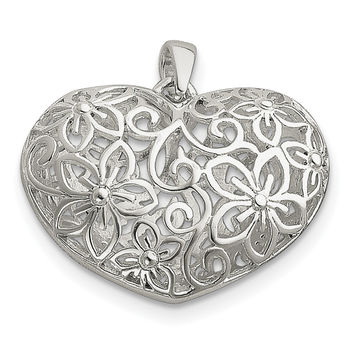 Sterling Silver Flower Filigree Design Puffed Heart Pendant QP1770