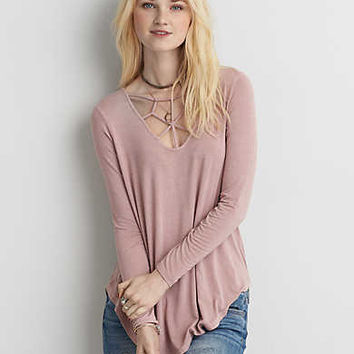 AEO Soft & Sexy Cage Front T-Shirt , Light Pink
