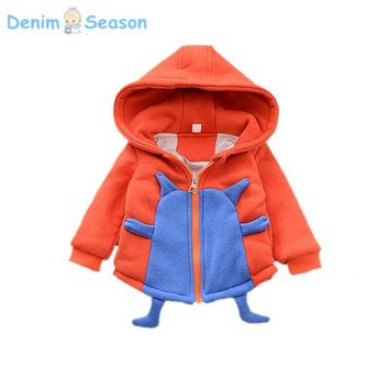 Denim Season Cute Cartoon Clothing For Christmas Coat Baby Boy Winter Warm Casual Outerwear For 1-3years old Kids Funny Jackets