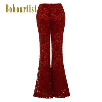 Women Chic Pants Brown Lace Hollow Out Flare Pants High Waist Slim Female Bohemian Bell bottom Trousers