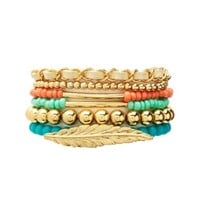 CHAIN & BEADED STRETCH BRACELETS - 6 PACK