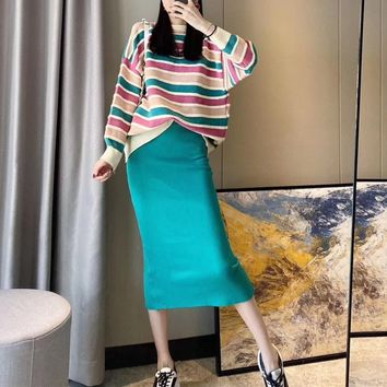 Women Fashion  Rainbow Knit High Waist Long Sleeve Middle Long Skirt Round Neck Sweater Set Two-Piece Clothes