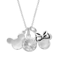 Disney's Mickey & Minnie Mouse Crystal Silver-Plated Charm Necklace - Made with Swarovski Elements (White)