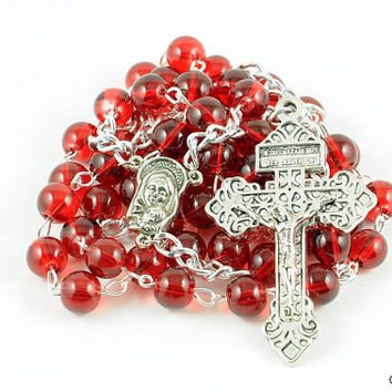 Wire Wrapped Rosary Red Pardon Traditional Catholic