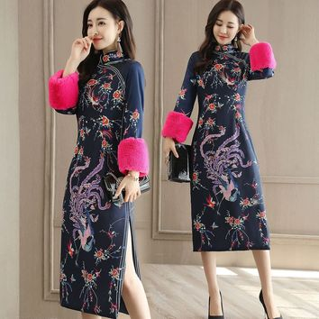 Long Sleeve Winter Women's Fashion Stylish Prom Dress One Piece Dress [288440385577]