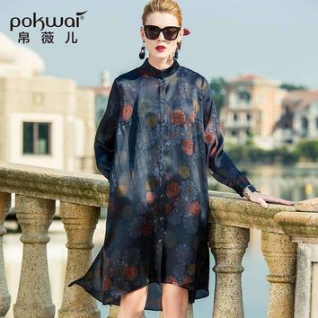 Pokwai Vintage Midi Women Silk Dress Mandarin Collar Wrist Sleeve Loose Party Dresses