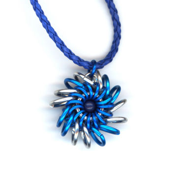 Chainmaille Pendant Blue and Silver Whirlybird, Braided Leather Necklace
