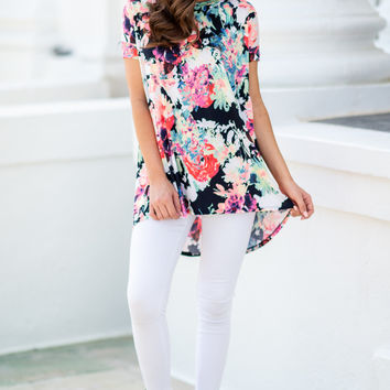 Floral Influences Tunic, Navy-Pink