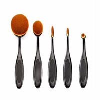 Professional 5 PC Oval Toothbrush Shaped Makeup Cosmetic Foundation Brush Set