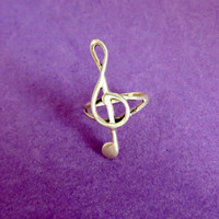 Vintage Sterling Silver Musical Note Ring, Size 5