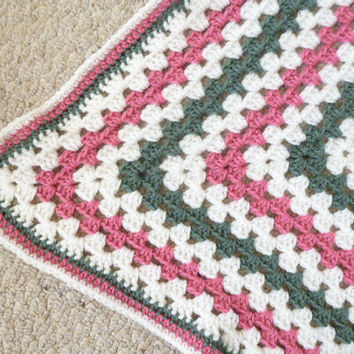 Pink White Gray Baby Afghan Hand Crocheted FREE shipping