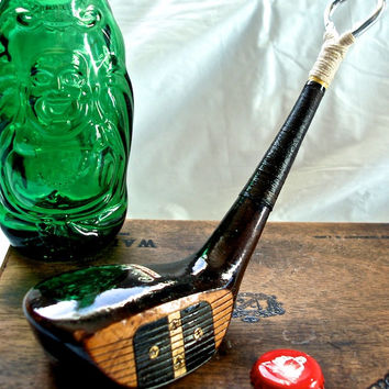 Antique Golf Club Bottle Opener-- Rare & Rustic Genuine Persimmons Vintage 3 Wood --Master Built 3 Wood 'Betty King' Special Edition OOAK