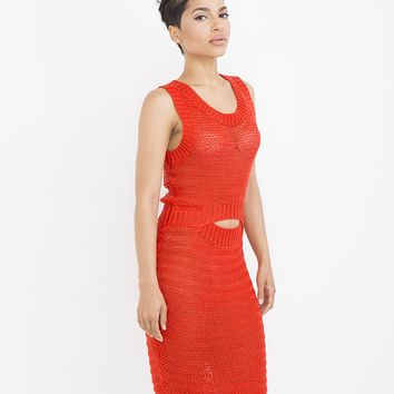 SWEAT HER MIDI DRESS - SCARLET