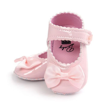 Soft Sole Leather First Walkers Crib Bow Shoes 0-18 Months