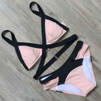 2017 Sexy Women Pink Patchwork Swimwear Bathing Suits Push Up Bikini Set-03116