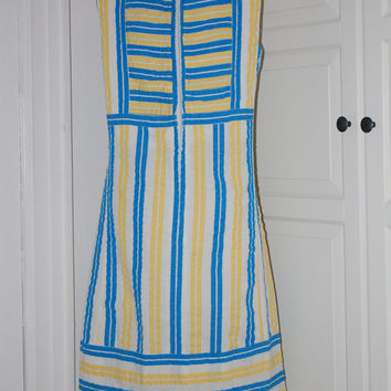 Vintage 60s Original The Lilly Cotton Shift Dress, Blue, Yellow, White Stripes, Lilly Pulitzer, Size M