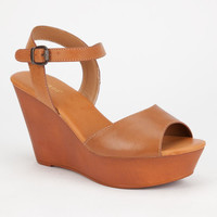 Bamboo Daffy Womens Wedges Cognac  In Sizes