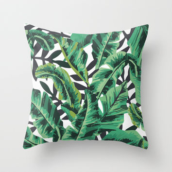 Tropical Glam Banana Leaf Print Throw Pillow by Nicolette