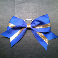 Royal Blue & Gold 3 inch wide Cheer Bow by 2girls2Tus on Etsy
