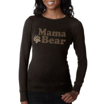LMFCY8 Mothers Day Mama Bear Juniors Long Sleeve Thermal