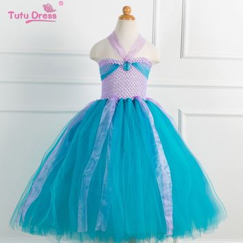 The Little Mermaid Kids Girls Dresses Princess Ariel Cosplay Halloween Costume Baby Girls Clothes