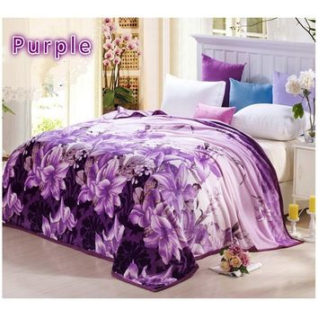 Bedding Purple Lily Flowers Printing Fur Blanket Sofa Bed Decor Big Cashmere Flannel Blanket  Twin/Full/Queen/King Size