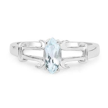 .52CT Marquise Cut Blue Aquamarine Engagement Ring