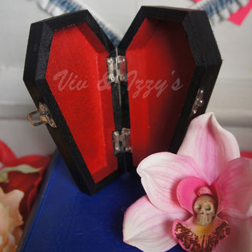 Cherry Bomb Red Glitter Coffin Box for knick knacks, bobby pins & jewelry