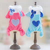 SWEETPETCO Dog Jumpsuit Winter Clothes Fleece Cute Rabbit Puppy Clothes for Small Dogs Cats Dog Pajamas Pet Clothes Pink XS-XL