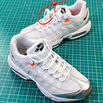 Off White X Nike Air Max 95 Ow White Silver Sport Shoes - Best Online Sale