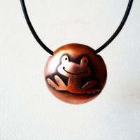 Frog Necklace Hollow Form Statement Choker Animal Totem Pendant Copper Metalsmith Metal Metalwork Contemporary Jewelry Valentine's gift