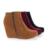 Carmela23 By Bamboo, Almond Toe Hidden Wedge Zip Up Ankle Bootie
