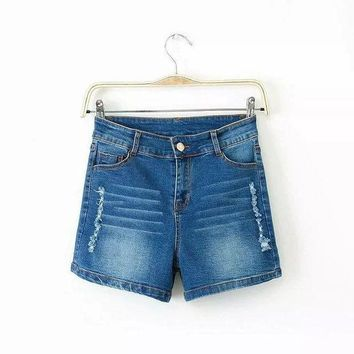 CREYCT9 Summer Women's Fashion High Rise Casual Ripped Holes Denim Shorts Stylish Jeans [8864410887]
