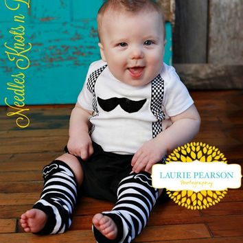 Baby Boys Mustache Outfit, Boys Coming Home Outfit, Newborn, Infant, Toddler Little Man Outfit